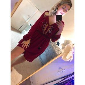 Altuzarra Red Sequin Bohemian Dress NWOT
